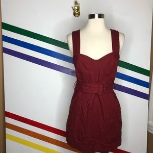 NEW Urban Outfitters maroon linen blend dress